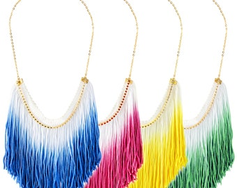 Colorful Ombre Fringe Necklace set of 4
