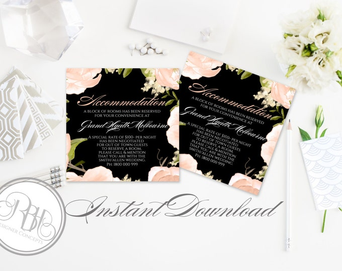Peach Wedding Information Card/Templates-INSTANT DOWNLOAD-DIY Editable Text-Pdf File-Peach Peonies Roses-Nadine