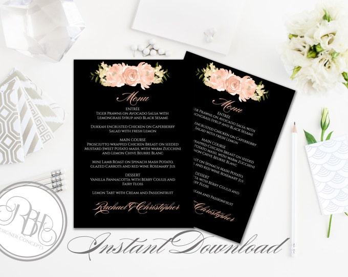 Peach Wedding Menu Template-Instant Download -DIY Text Editable-Peach Watercolor peonies roses-Nadine