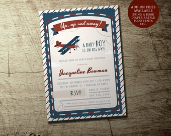 Airplane baby shower invitation, vintage airplane invitations, boy baby shower, precious cargo invites, flying, travel theme, up up and away