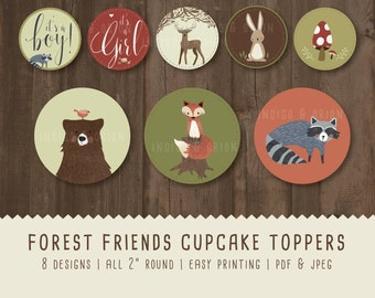 Woodland animals Cupcake toppers, baby shower, Round Tags, Instant download printable files, Forest friends, fox, bear, raccoon, deer, bunny
