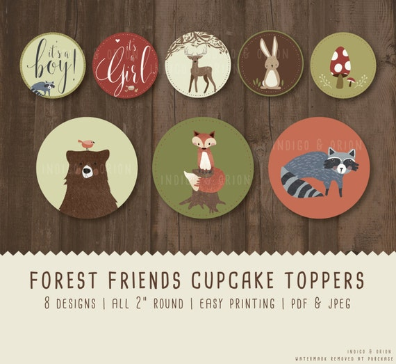 Woodland Animals Cupcake Toppers Baby Shower Round Tags