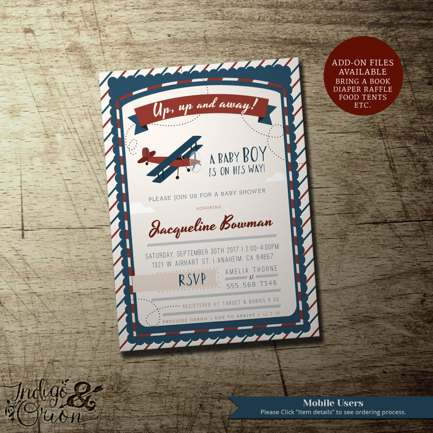 Airplane Birthday Party Get Ready For Takeoff: Vintage Airplane Baby Shower Invitation Up Up And Away