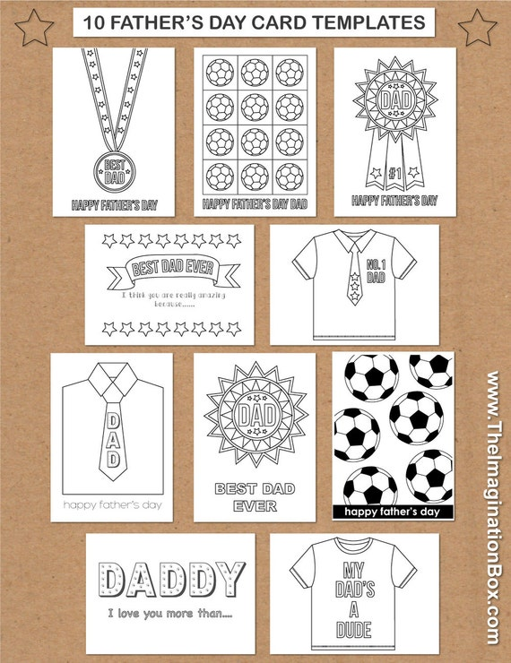10 Father's Day Card Templates for kids to print and