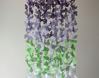 Butterfly Nursery Mobile - Purple, Lime and White Ombre Chandelier Butterfly Mobile - Butterfly Mobile - Crib Mobile - Baby Mobile -  Gift