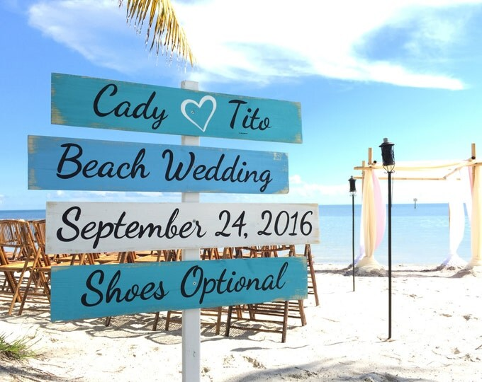 Wedding Decor Beach Sign, Wood Nautical Directional Signs, Shoes Optional, Personalized Signage for wedding, Wedding gift