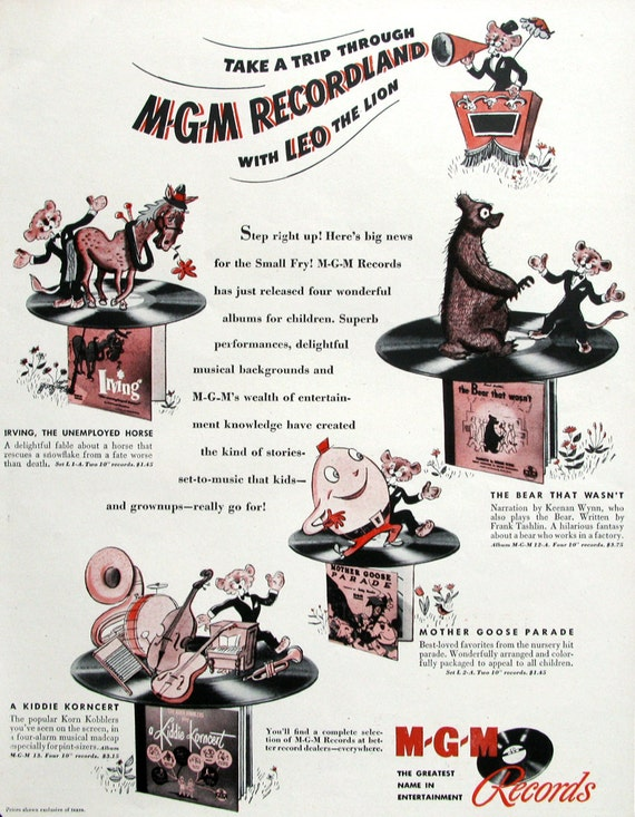 1947 Mgm Recordland Ad Leo The Lion Mgm Records