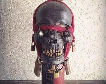 Vodou/Voodoo Skull Lid Djab Bottle/Boutey. Spirit Bottle/Vessel. Magickal Item