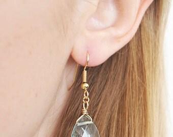 Aqua Quartz Earrings - Aqua Quartz Teardrop Earrings - Aqua Quartz Dangle Earrings - Aqua Quartz Drop Earrings - Bridesmaid Earrings
