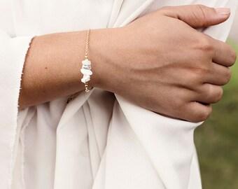 White howlite bracelet - Buffalo turquoise bracelet - Howlite chip bar bracelet - Marble & copper bracelet - Gold/Silver/Rose Gold Bracelet