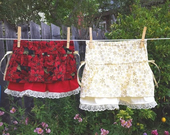 Little Girl's Christmas Ruffle Skirt in Red Poinsettias (3T) or Gold Snowflakes (5 Years)