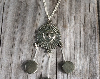 Fool's Gold Sun Necklace, Pyrite Necklace