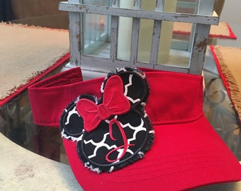 Visor with Monogrammed Minnie Mouse ragged patch