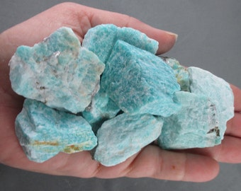 3 Raw Amazonite Crystal - Healing Crystals and Stones, Raw Crystals, Calming Stones, Reiki Healing, Heart Chakra, Positive Energy (T096)