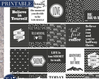 Printable black & white QUOTE planner stickers. Printable planner sticker with arrows, mountains, snow, chevron and clouds patterns.