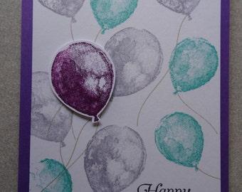 Handmade Birthday Card | Purple Balloons | Stampin Up