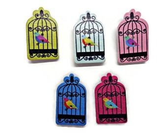 5 Birdcage buttons, bird buttons, novelty buttons, wedding buttons, sewing supplies, cardmaking supplies bird theme craft, uk buttons