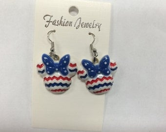Minnie Mouse Fourth of July Dangle Hypo Allergenic Earrings