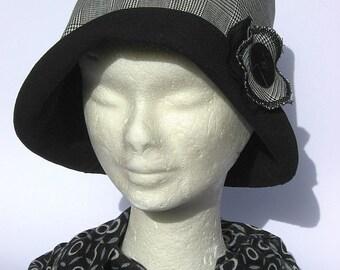 women's bucket hat, handmade, cloche 20-30th, vintage, grey black fabric