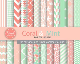 SALE ***Coral & Mint Digital Paper - Backgrounds - for graphic design, crafts,scrap booking - INSTANT DOWNLOAD (DP024)