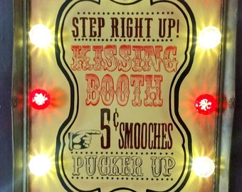 Illuminated Fairground Sign Kissing Booth