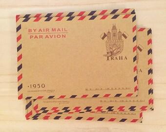Airmail Envelopes - Castle (10 pcs / 16.2 cm x 11 cm) Korean Stationery Brown Kraft Paper Retro Envelopes C0008