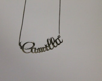 Silver necklace with name, handmade