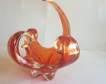 Vintage Fiery Orange Curled Arm Bowl by Chalet Canada