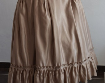 Beige satin skirt with Ruffles at the bottom