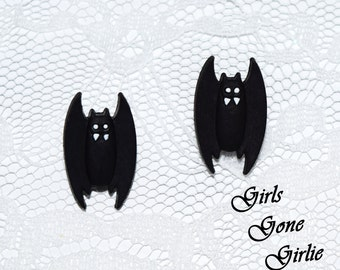 Halloween vampire bat earrings , Halloween stud earrings , black bat stud earrings , toddler Halloween earrings , Halloween jewelry , 1 inch