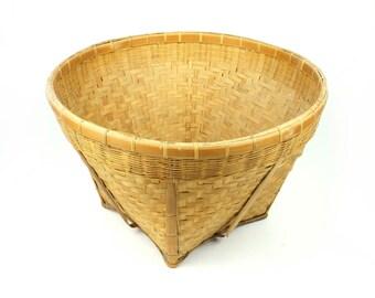 Old Round Basket Square  Bottom Handmade Woven Medium Large Decorative Decor Primitive Yellow Color