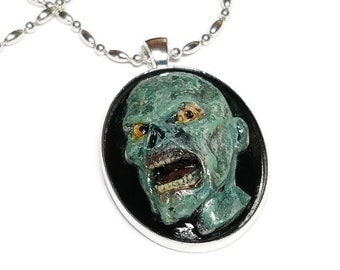 Hand Painted  Zombie Cameo Necklace, Walking Dead Cameo, Zombie Necklace