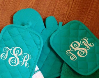 Teal Single stripe Monogrammed Kitchen Towel Set