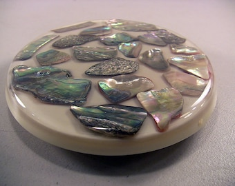 Vintage Lucite Kitchen Trivet Abalone Shells Shabby Cottage Beach Decor