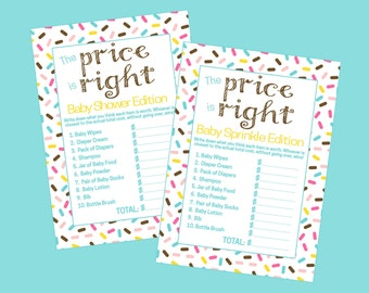 Donut The Price Is Right Baby Shower Game, Baby Sprinkle Game. Instant Digital Download. Donut, Doughnut, Ice Cream, Sprinkle,