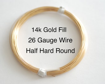 Pay by Foot, 14k Gold Filled Wire 26 Gauge Gold Filled Wire, Gold Wire, 26 Gauge Wire/Half Hard Wire/Jewelry Wire/Earring Wire/Necklace Wire