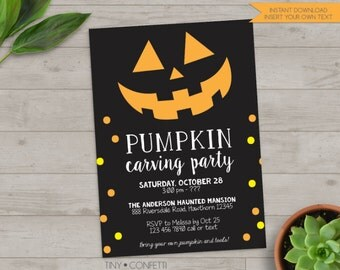 pumpkin carving party invitation, pumpkin carving invitation, halloween party invitations, halloween invitation, adult halloween invite