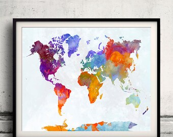 World map in watercolor 23 - Fine Art Print Glicee Poster Decor Home Gift Illustration Wall Art Countries Colorful - SKU 2336