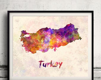 Turkey - Map in watercolor - Fine Art Print Glicee Poster Decor Home Gift Illustration Wall Art Countries Colorful - SKU 1909