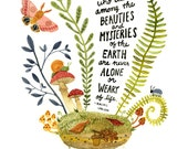 Mysteries of the Earth Watercolor Art Print, Hand Lettering, Rachel Carson Inspirational Quote, Rachel Carson Science Wall Art