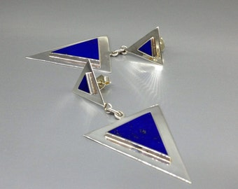 Lapis Lazuli earrings and Sterling silver a statement of design and color - gift idea - modern unique design - AAA Grade Lapis - triangle