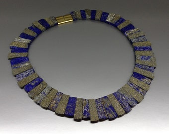 Natural blue and gold collier with Lapis Lazuli and Pyrite