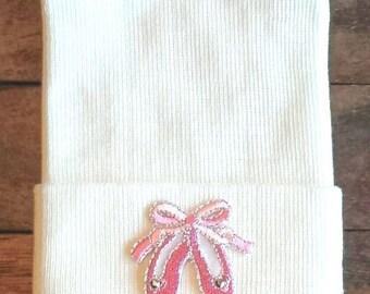 Ballerina Slippers Newborn Hospital Hat - Newborn Dance Hat - Ballerina Hat - Baby Hat - Ballerina Baby Hat - Ballerina Hospital Hat - Dance