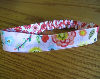 Reversible Baby/Toddler Headband in Pink Flowers