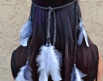 Feather Headband - Feather Hairpiece - Grey Feathers - Festival Headband - Hippie Headband - Hair Accessories - Bohemian - Costumes