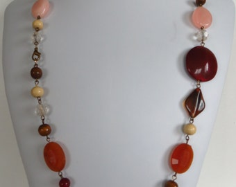 Vintage Necklace Semi Precious Gemstones Browns and Neutrals 31 inches