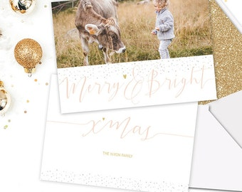 5x7 Christmas Card Templates for Photographers - Merry and Bright - Christmas Cards Photo - Photoshop Template - X002 - instant download
