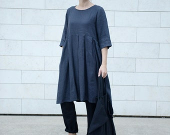 Wide and pleated linen dress with 3/4 sleeves and comfy side pockets in Charcoal Grey. Washed linen dress. Women dress.
