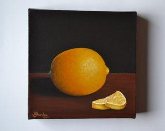 Original 6x6' acrylic small still life painting, lemon painting, fruit painting, tiny kitchen painting, kitchen art, kitchen miniature, chef