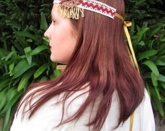 Boho headband, felt feather headband, festival headband,  boho wedding, vintage style headband, hair accessories, fancy dress, photo prop